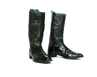 Vintage 1940's Men's Tall Black Leather Distressed Equestrian Riding Boots/ Motorcycle Boots Men's Size 11 1/2 US