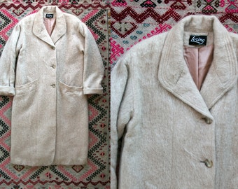 Vintage 1980's Cream Colored Mohair Wool Long Button Up Coat/ Pea Coat Women's Size Large to Extra Large by Loring Made in the USA Preppy