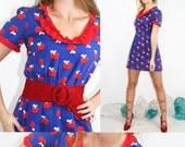 Dress Vintage 60s Dress Red Apple Mini Dress Ruffle Eyelet // Vintage Clothes by TatiTati Style on Etsy