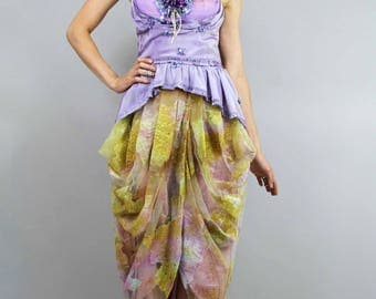 Mermaid DRAPED Strapless Pemplum Dress, Shelf Bustier Prom Gown w Antique Flowers, Redesigned Clothing by Tatiana Andrade