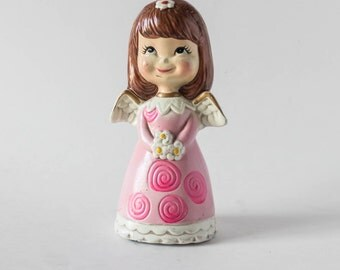 Vintage Chalkware Angel Christmas Decor Girl with Pink Dress Retro Mid Century Kitsch Holiday