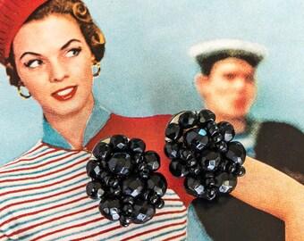 Black Glass Bead Earrings Clip On Vintage Bride Vintage Wedding Cluster Earrings Wedding Jewelry