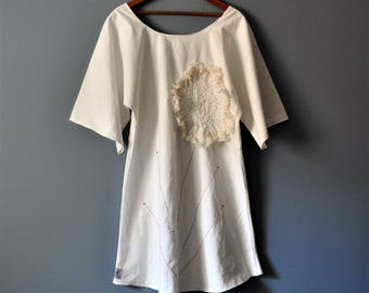 Heirloom Vintage White Tunic Dress with Sashiko/Upcycled Sustainable Clothing