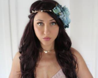 Flower Halo, blue, crown, wedding, bridal, halo, summer, bride, festival, hair accessory, wreath, beach wedding, destination