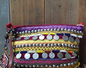 Vintage Banjara Clutch Tribal Belly dancer coin Cosmetic bag Leather wristlet beaded charm