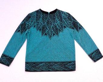 Leaves Knit Top Vintage Black and Turquoise Leaf Yoke Shirt 1970's Botanical Long Sleeve shirt Optical Stripes Leafy Yoke Cuffs Hem 1970s