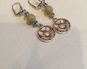 Celtic Silver Thistle and Connemara Marble Earrings