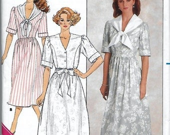 Butterick 3624 Misses' 80s Sailor Middy Collar or Bow Slightly Flared Dress Sewing Pattern Size 12 to 14 Bust 34 to 38