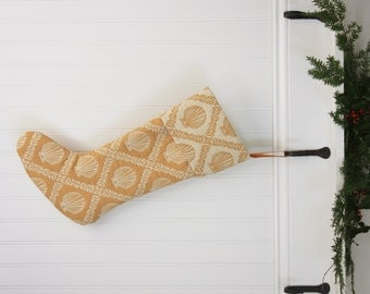 Gold Nautical Christmas Stocking - Clam Shell - Shell - Beach - Ocean
