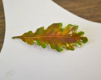 1970s Accessocraft NYC Enamel Leaf Brooch