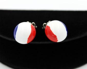 Patriotic Lucite Button Earrings, ca. 1960s