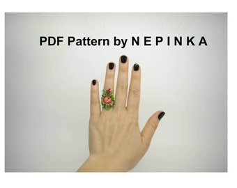 Brick stitch ring pattern.Peyote ring pattern.Beadwork.Rose ring.Wide ring.Floral.Romantic ring.Mothers day.Spring ring.Feminine jewelry