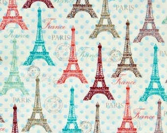 Eiffel Tower fabric, Paris fabric, 100% cotton fabric for Quilting, arts, crafs and all sewing projects.