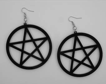 Huge Black Pentagram Earrings Large Pentacle Earrings Gothic Goth Heavy Metal Witchcraft Occult Witch Craft Wiccan Pagan Wicca Punk Rock