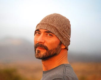 Men's Beanie Hat - Unisex - Mocha Brown - Organic Cotton Hemp - Eco Friendly - Ready to Ship