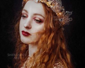 Gold Filigree 'Tilda' Fairy Queen Couture Glitter Crown