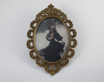 Antique Brass Vintage Filigree Oval Glass Picture Frame Mythological Wolf Witch Fantasy Gothic Art