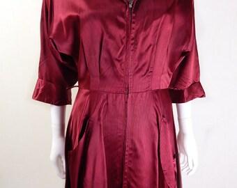 Original Vintage 1940s Vintage Red Satin Dress UK Size 8/10