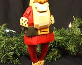 Hand Carved Santa in Red Coat and Hat with Black Belt and Mittens and White Trim
