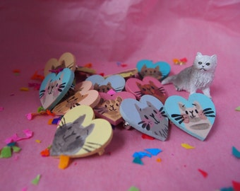 THREE Hand Painted Cat Heart Brooches