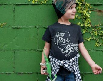 What's For Lunch Funny Kids Shirt - Tyrannosaurus Rex Dinosaur - Boys Shirt - Girls Shirt - Graphic Tee - Kids Clothing - Toddler