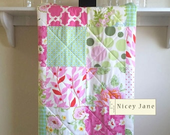 Floral Baby Girl Quilt, Floral, Baby Blanket, Minky Back, Nicey Jane, Crib Quilt, Pink, Fuchsia, Mint Green, Aqua, Hot Pink