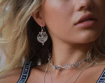 Mandala Earrings, Filigree Earrings, 925 Sterling Silver Dangle Earrings, Statement Earrings