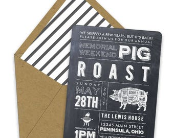 Chalkboard Pig Roast Invitations