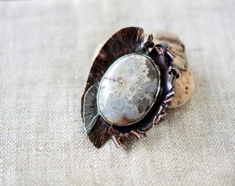 Big artisan brooch - copper sterling silver jasper pin - One Of A Kind - mixed metal artistic brooch - artisan jewelry by Alery