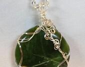 Handcrafted Wire Wrapped Round Nephrite Jade Gemstone Pendant NecklaceValentines Day Gift for HerMystical JeweleryYoga JewelleryBoho