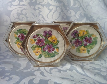 Set of 3 Embroidered Coasters, Embroidered Coasters, Coasters, Clear Coasters, Floral Coasters