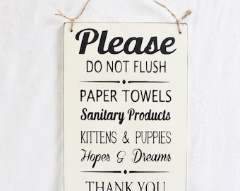 Bathroom Signs Please Do Not Flush septic system | etsy