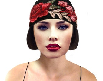 Floral Cloche Hat, Black Knit Hat, Flapper 1920s Hat, Great Gatsby, Black Cloche Hat, Downton Abbey,Crochet Beanie, Retro Hat, Gift For Her