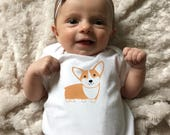 Corgi baby clothes, Corgi baby bodysuit for baby boy or baby girl, gift for baby