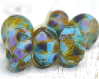 lamp work beads...SRA handmade, earthy fall shades of lampwork beads, earthy colors, beads set of (6) for making jewelry 111416-5