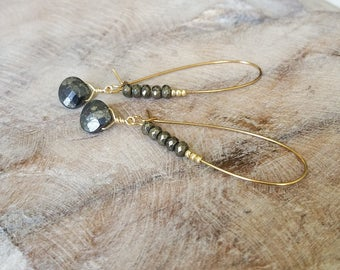 Hoop Earrings, Pyrite Hoop Earrings, Gold Pyrite Hoop Earrings, Gold Hoop Earrings, Pyrite Hoop, Gold Pyrite Earrings, Hoop Earrings Gold