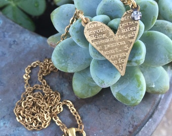 etched brass metal heart pendant necklace jewelry Swarovski crystal necklace valentines mothers day gift