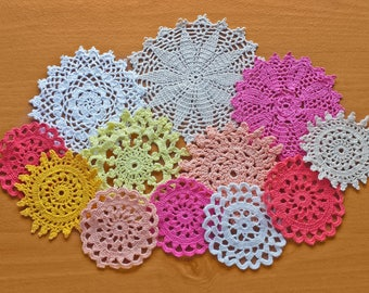 12 Colorful Hand Dyed Crochet Doilies, Small Craft Doilies in Red, Orange, Pink, White, Beige, and Yellow, 2.5 to 4.5 Craft Doilies