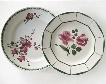 Set of 2 antiques French  plates, green and pink , French flowers , decoratives plates