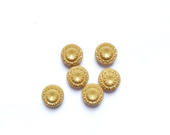 6 Ocher Caramel Vintage Fancy Buttons