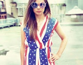 Patriotic USA Red White & Blue 4th Fourth of July Independance Memorial Day Stars and Stripes American Flag Summer Party Playsuit Romper