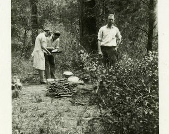 "Vintage Photo ""Making Campfire Stew"" Camping Food Snapshot Antique Photo Old Black & White Photograph Found Paper Ephemera Vernacular - 14"