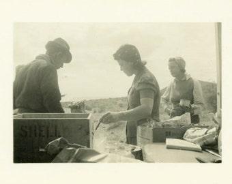 "Vintage Photo ""The Road Trip Lunch Gang"" Snapshot Antique Photo Old Black & White Photograph Found Paper Ephemera Vernacular - 142"