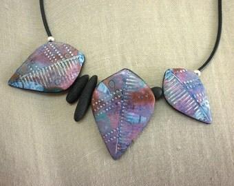 Purple blue Leaf Necklace, patina, OOAK artisan boho statement necklace, unique handmade colorful summer, mother's day, original leaf design