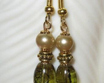 Earrings Almond Pearl & Green Art Glass Beads on Gold Earring Wire Dangle Hanging