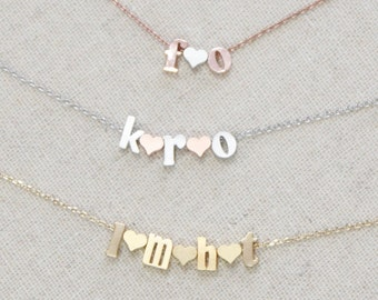 Initial Necklace | Couple's Necklace | Single Letter | Double | Lowercase Block Font | Wedding Gift | Anniversary | Personalized | Children
