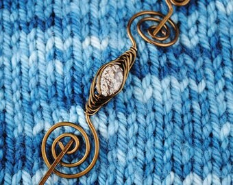 Jasper Shawl Pin in Bronze Wire
