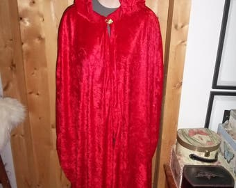 Red panne velvet cloak with a pointed hood