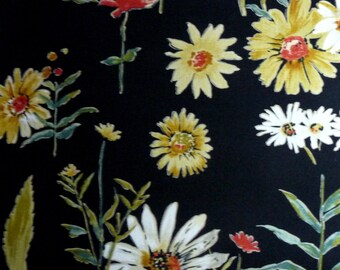 Alexander Henry Fabric Wild Daisy Study Rare Vintage Hard to Find Out of Print Floral Botanical Daisies on Black Cotton Quilting Fabric
