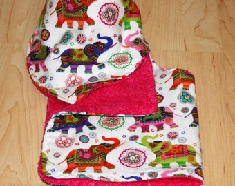 Elephant Baby Girl Bandana Bib and Burp Cloth Set with Boho Elephant Print Flannel and Terry Cloth Lining for Teething Baby Girl Drooler